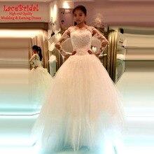 Lebanen Dubai Luxury Ball Gown Long Sleeve Lace and Beaded Crystal Wedding Dresses 2016 Long Formal Church Bridal Gown XW174