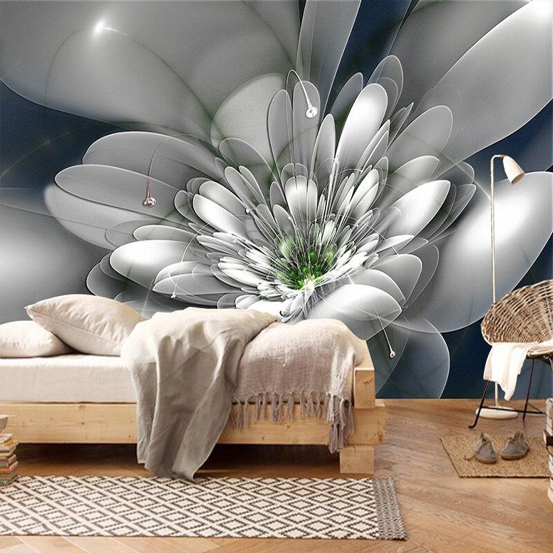 Moda moderna criativo abstrato transparente flor sala de estar tv fundo da parede decoração não-tecido papel de parede personalizado mural