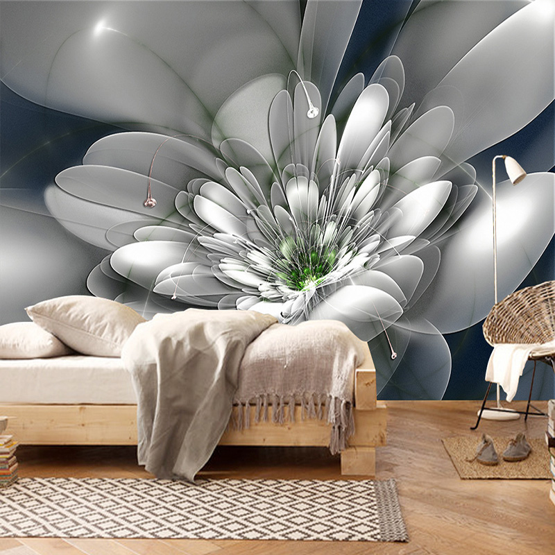 Modern Fashion Creative Abstract Transparent Flower Living Room TV Background Wall Decor Non-woven Wallpaper Custom Wall Mural
