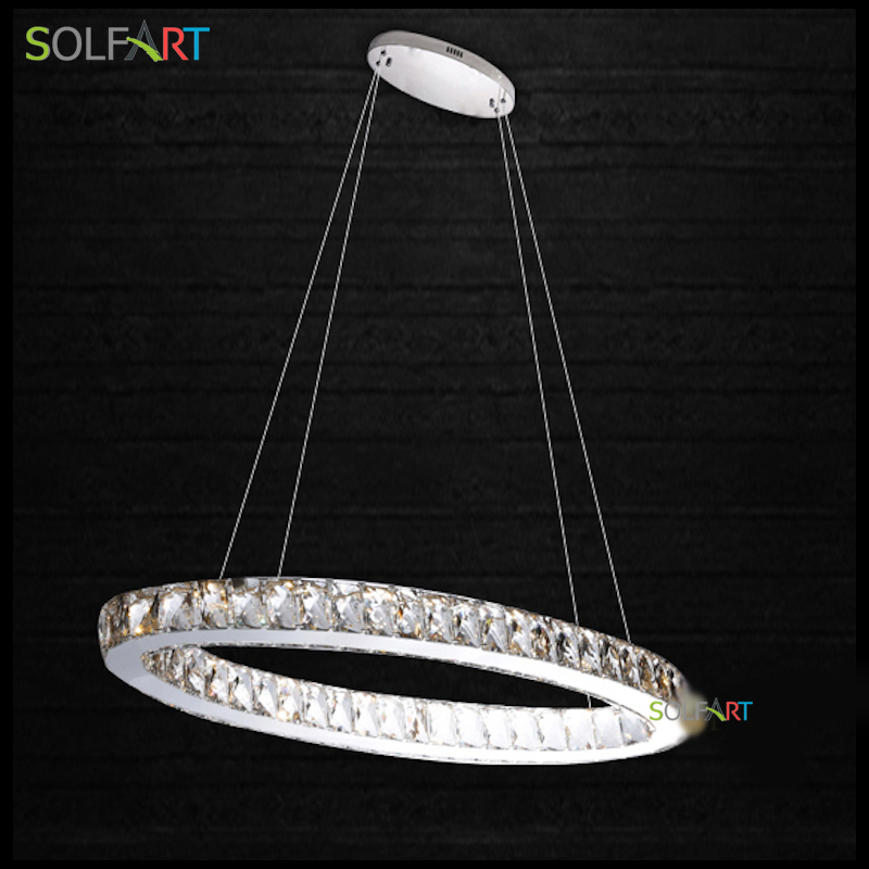 Lamp Parlor Pendant Lights Led luminaire Round Lamps Crystal  Stainless Steel  Lampara Hanglamp Modern Foyer For Room Dining free shipping modern led crystal pendant lamps crystal pendant lights round rings stainless steel dinning living room lights