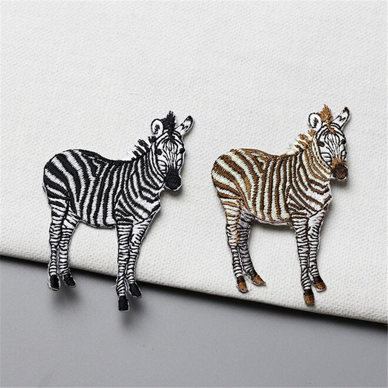 Maxsin 1 PCS Delicate Embroidery Zebra Horse Patch Iron On Patch for Clothes Backpack Decoration Hot Melt Adhesive In The Back