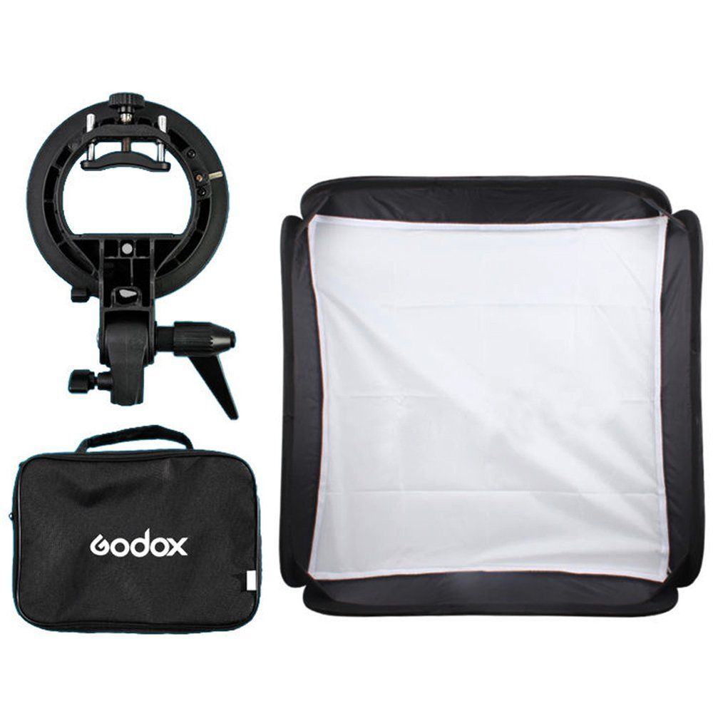 Godox 40x40cm Softbox + S-Type Bracket Bowens Holder+ Bag Kit for Camera Flash image