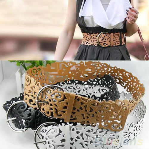 5 Colors Women's Lady Tie   Belt   Wide Hollow Buckle Waist band Waistband Waist   Belt   0QYJ 7G8H 9D1D