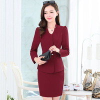 New 2016 Fall Formal Skirt Suits Fashion Solid Blazers With Skirt Hot Sale Classic Women's Sets OL Uniform Work Wear Skirt Suits