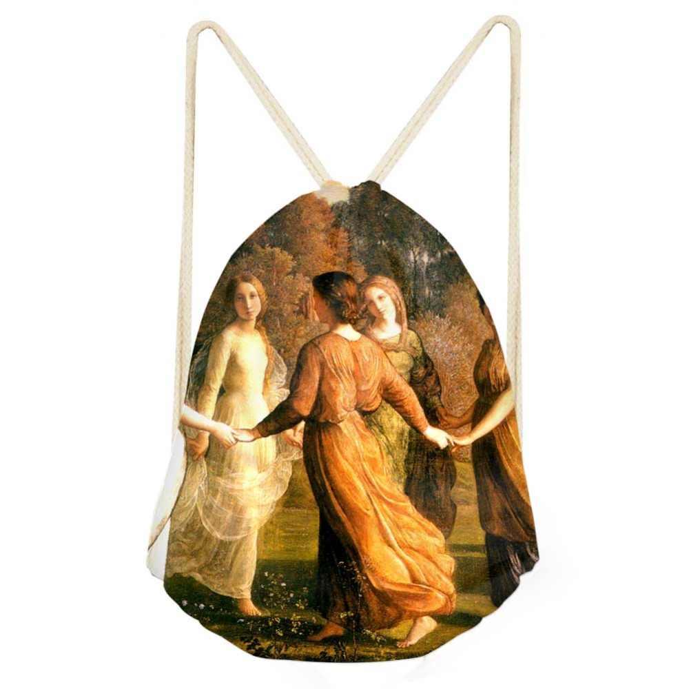 حقيبة برباط حقيبة ظهر نسائية من Van Gogh ذات رسومات زيت على الظهر حقيبة ظهر نسائية بخيوط للتسوق حقيبة صغيرة لتخزين الأطفال البنات حقيبة ظهر