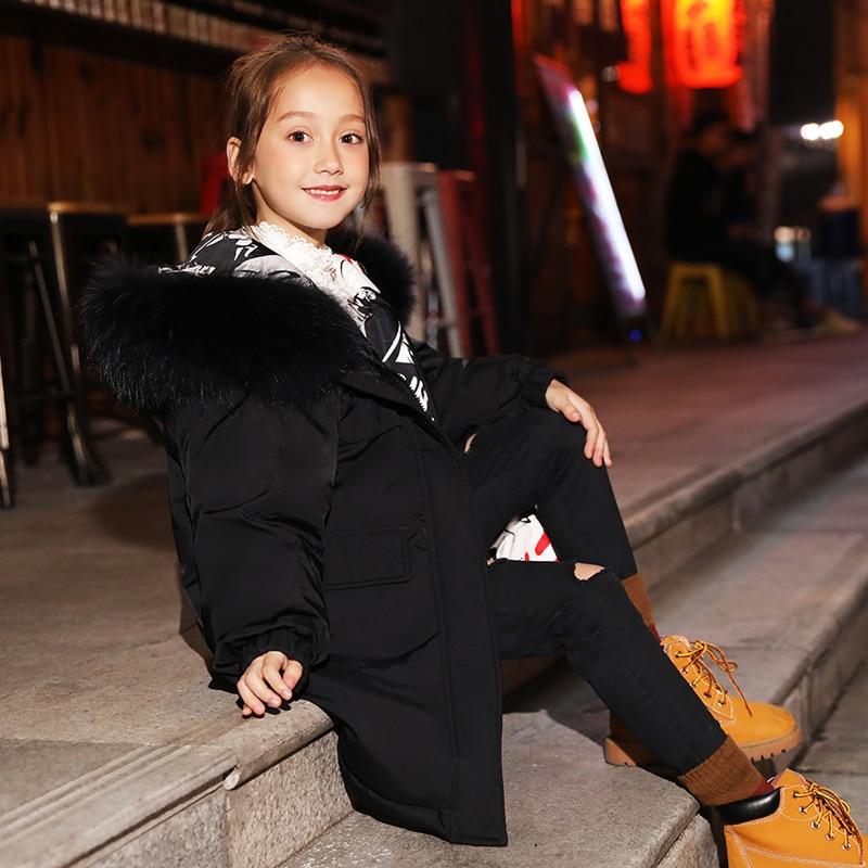 HSSCZL meisjes duck down jassen 2019 winter dikker jas grote meisje hooded natuurlijke kinderen bovenkleding jas kinderkleding 6 14 - 5