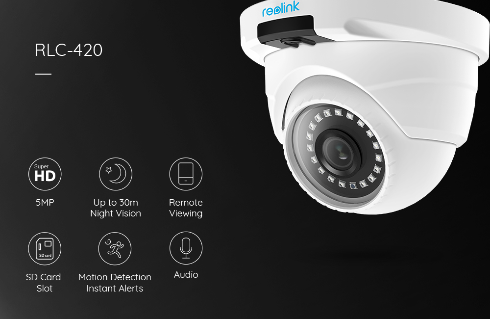 Reolink PoE IP Camera 5MP SD card slot Dome Security Outdoor Surveillance Camera CCTV Nightvision Video Surveillance RLC-420