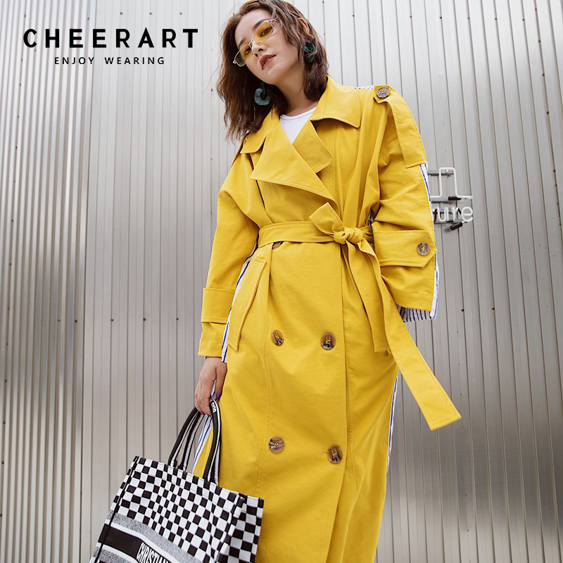 Cheerart Striped Patchwork Yellow Trench Coat Chic Long Coat Women Thin Windbreaker Spring Coat Loose Trench High Fashion