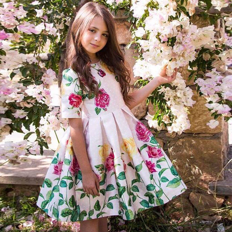 bd6b49ed3138a67 Платье принцессы для девочек; костюм; Платья с цветочным рисунком для маленьких  девочек; коллекция 2019 года; брендовые Детские Элегантные пл.