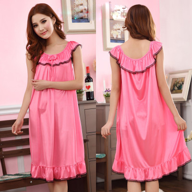 c1a418a1861 9 Candy Color Loose Solid Satin Long Nightgowns Sleepwear For Women Summer  Sleeveless Sexy Lingerie Plus