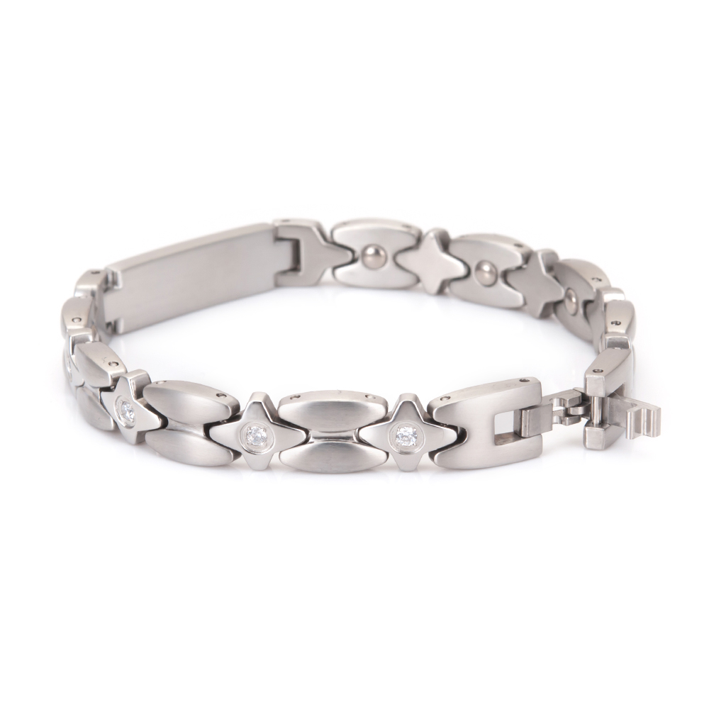 Wollet Jewelry Japanese Design Stainless Steel Bracelet Bangle for Women Germanium CZ Stone Rose Gold Health Healing Energy in Chain Link Bracelets from Jewelry Accessories