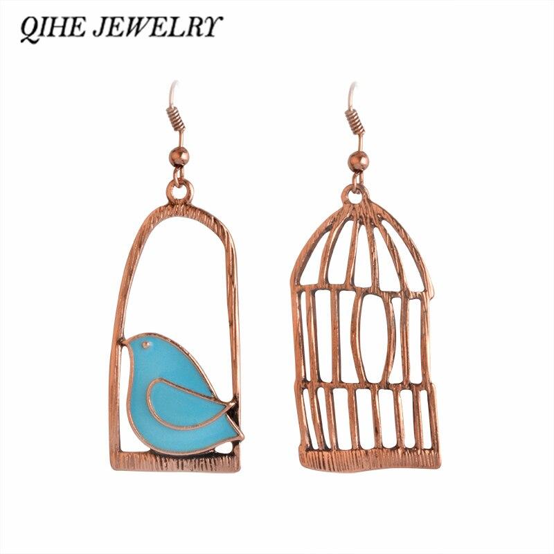 691ed6ec6 QIHE JEWELRY Lovely Designer Vintage Earrings Enamel Bird Bird-Cage Bronze  Drop Earring Women Female Brincos de gota feminino