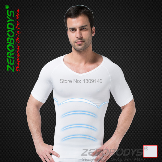 3074c07a2d282 Mens Slimming Body Shaper Tummy Belly Abdomen Buster Waist Trainer Tee  Shirt White S