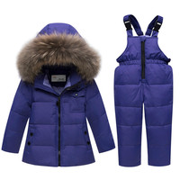 Russian Winter Suits Children's Clothing Sets Warm Baby Boy Ski Suits Snowsuits Real Fur Girl's Down Jackets Outerwear Kids Suit