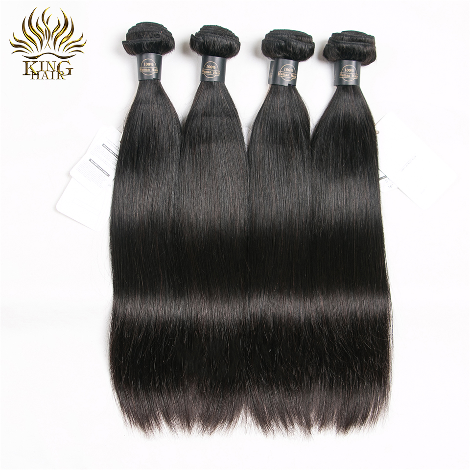 King Hair Brazilian Hair Straight 3 Bundles With Snap Closure 4PCS - Mänskligt hår (svart) - Foto 3