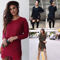 2017 European American Fashion Winter Sexy Women Sweaters And knitwear Round neck long sleeve side split sexy tassels pullovers