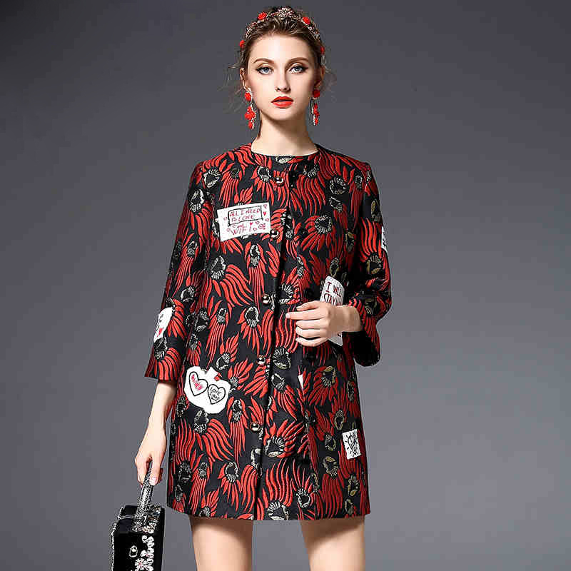 High Quality Runway Winter  Fashion Designer Coat Women Letter Embroidery Jacquard Button Vintage Coats