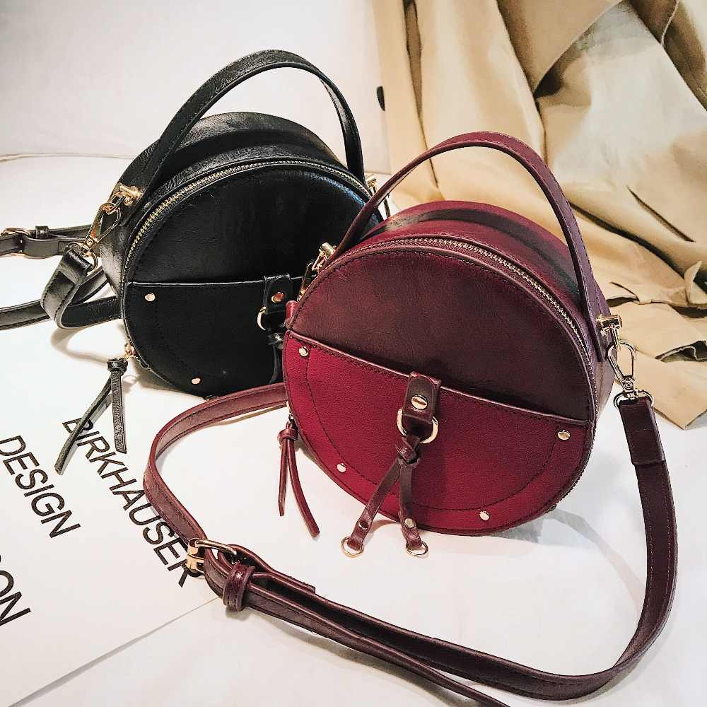 80c89ee22bf Vintage Scrub Leather Round Designer Crossbody Bag For Women 2019 PU  Leather Shoulder Bags Ladies Small Handbags Mini Tote Bag