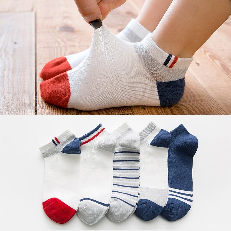 5 Pairs Kids Socks Boys Striped Sock for School Children Fashion Sports Elastic Socks Spring Autumn Summer Breathable Soft Sock 2