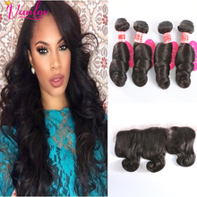 13×4 Ear To Ear Lace Frontal Closure With Bundles Brown Loose Wave With Closure 4 Bundles 7a Peruvian Loose Wave Lace Frontals