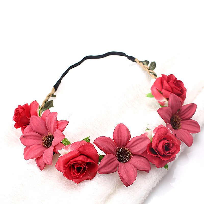 M MSIM bohemio floral diadema mujer novia Garland hecha a mano tocado de corona, tocado de novia, diadema de flores para niña
