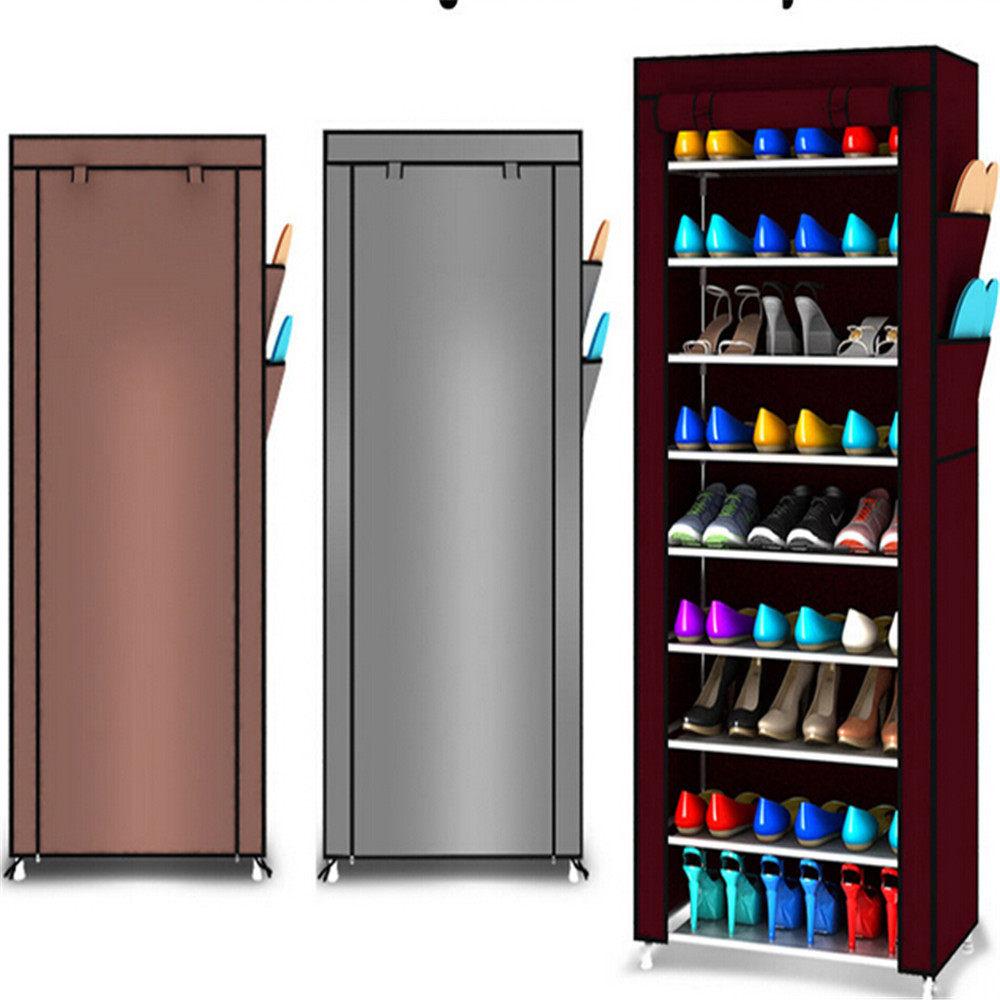Online Shop 2 Tier Sepatu Rak Bambu Bangku Kain Lemari 6 Ruang 9 Kanvas Penyimpanan Rel Organizer Zipper Berdiri Sapateira