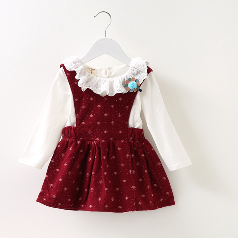 New 2017 Spring Autumn Girls Dress Toddler Baby Girl False Two Party Dress Kids Clothes Long Sleeve Printed Party Dress For Kids toddler girl dresses chinese new year lace embroidery flowers long sleeve baby girl clothes a line red dress for party spring