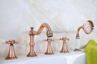 Antique Red Copper Bathroom Bathtub Faucet Deck Mount 5 Holes Bath Mixer Taps with Handheld Shower Ktf215