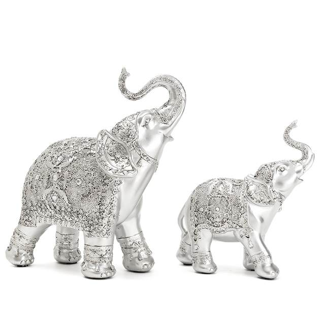 144a12e81ca8e placeholder Fashion 2Pcs set Silver Polyresin Ornate Elephant Statue Lucky  Figurine Sculptures Ornaments for Home Office