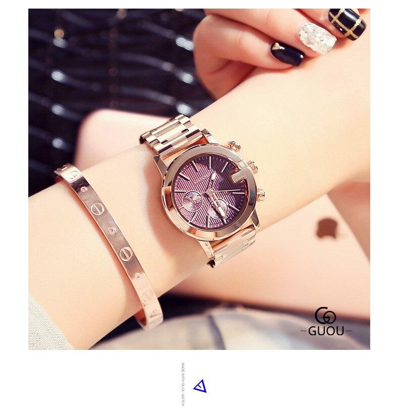 ФОТО GUOU STEEL TAPE hour Ladies Watch female models fashion classic ladies watch time clock quartz watch Wrist watches