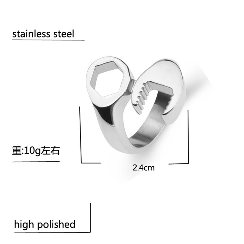 Stainless steel spanner mechanic wrench tool polished men biker ring stainless steel spanner mechanic wrench tool polished men biker ring band size 7 8 9 10 11 12 13silver black or gold wrench in rings from jewelry ccuart Images