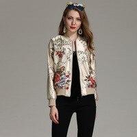 Высокое качество дизайнерская модная куртка пальто Для женщин с длинным рукавом Винтаж цветочной вышивкой на молнии с Повседневное Верхня