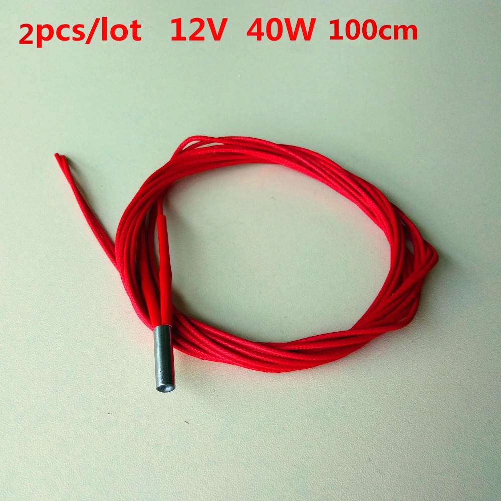 2pcs/pack cartridge heater 12V 40W 100cm Reprap Mendel for hotend extruder sensor stainless Steel Ceramic heated tube