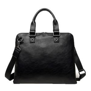 Image 4 - VORMOR Brand Men bag Casual mens briefcase 14 inch laptop Handbag shoulder bag PU leather mens office bags 2019