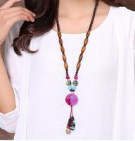Folk style sweater chain pendant dress female long necklace pendant pendant retro all match winter accessories