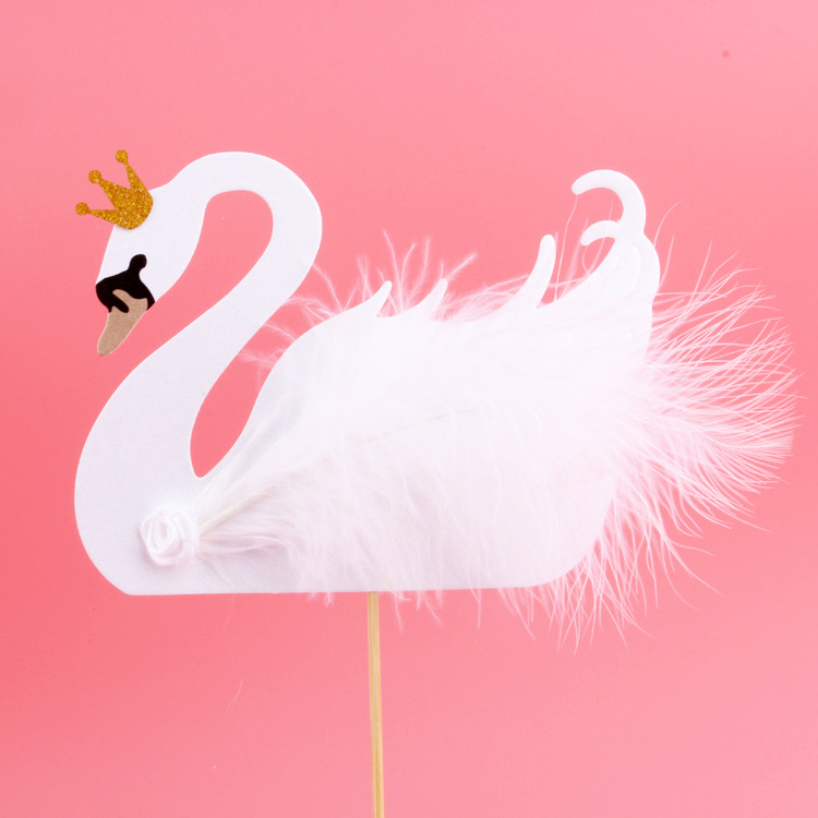 Feather Cupcake Topper Swan Crown Cake Flags For Wedding Birthday Party Cake Baking Decor Supplies Xmas DIY New Year Baby Shower
