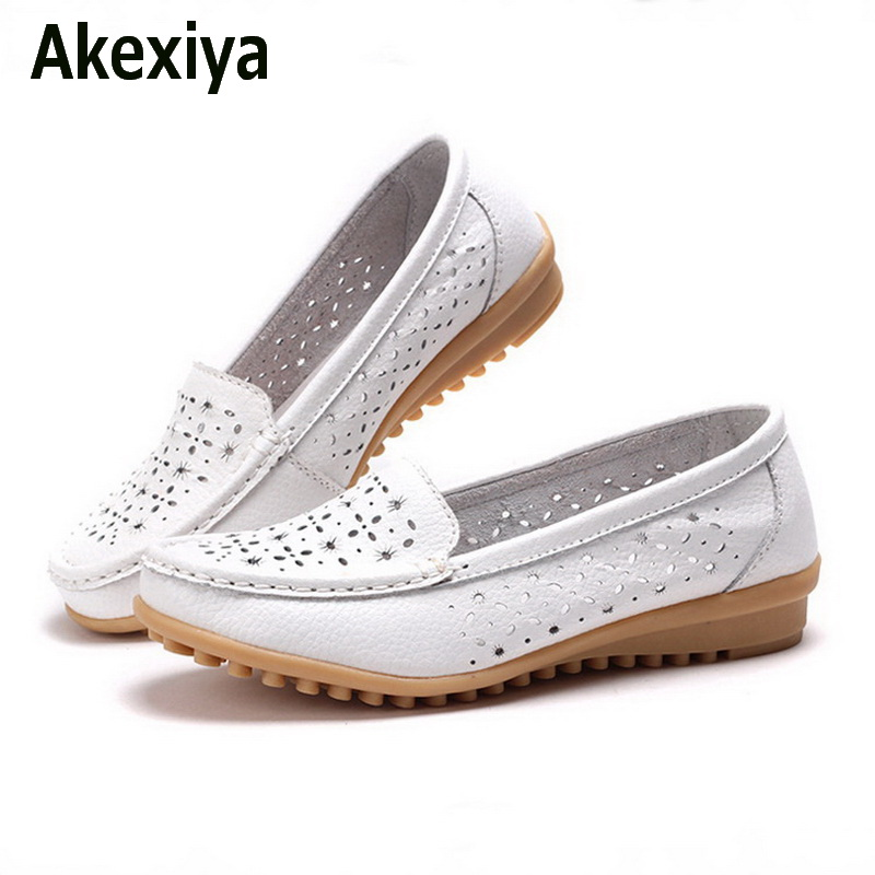 Akexiya 2017 Women Loafers Lady Ballerina Flat Shoes Woman Summer Flats Hollow Out Comfortable Soft Genuine Leather Moccasins