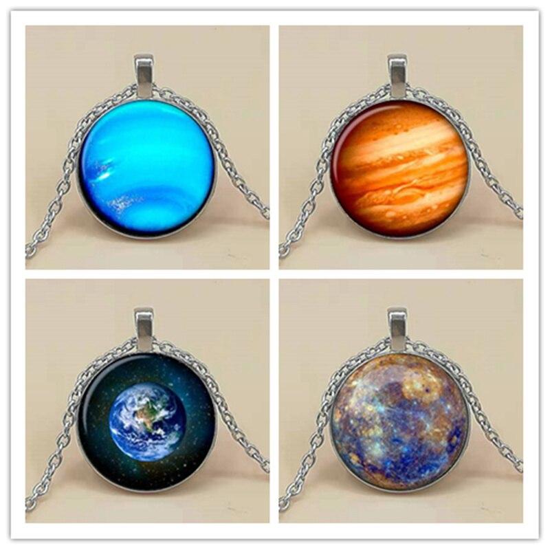 Mens necklace Retro Planet Earth Mars Jupiter Neptune Mercury Glass Cabochon Pendant Black Chain Choker Necklace Husband Wife Jewelry Gift