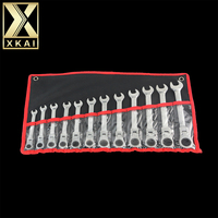 XKAI 12pcs 8 19mm Flexible Head Ratchet Spanner Combination Wrench Gear Ring Wrench Ratchet Handle Tools
