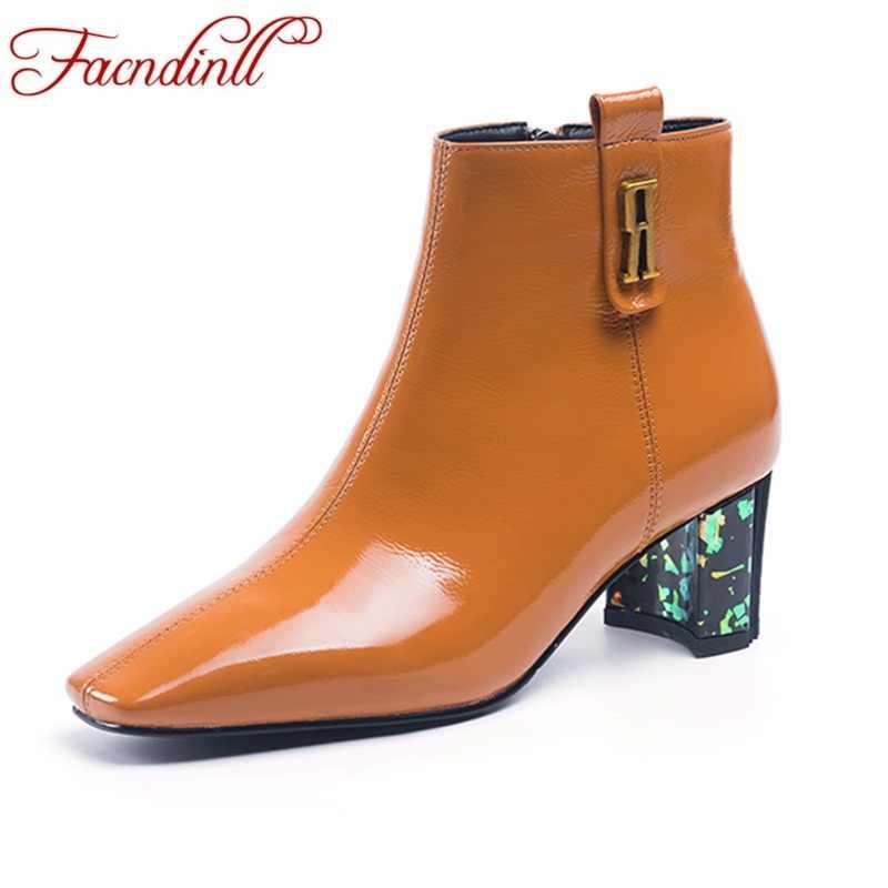 FACNDINLL vrouwen enkellaars schoenen nieuwe mode hoge hakken lakleer zwart rits vrouw jurk party casual rijlaarzen schoenen