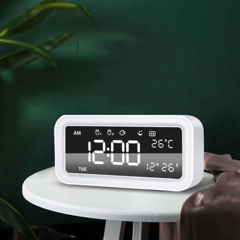 Image 2 - Hot 12V Dual Usb Charging Smart Digital Alarm Clock With Dimmable Led Light Music Snooze Function Alarm Clock-in Alarm Clocks from Home & Garden