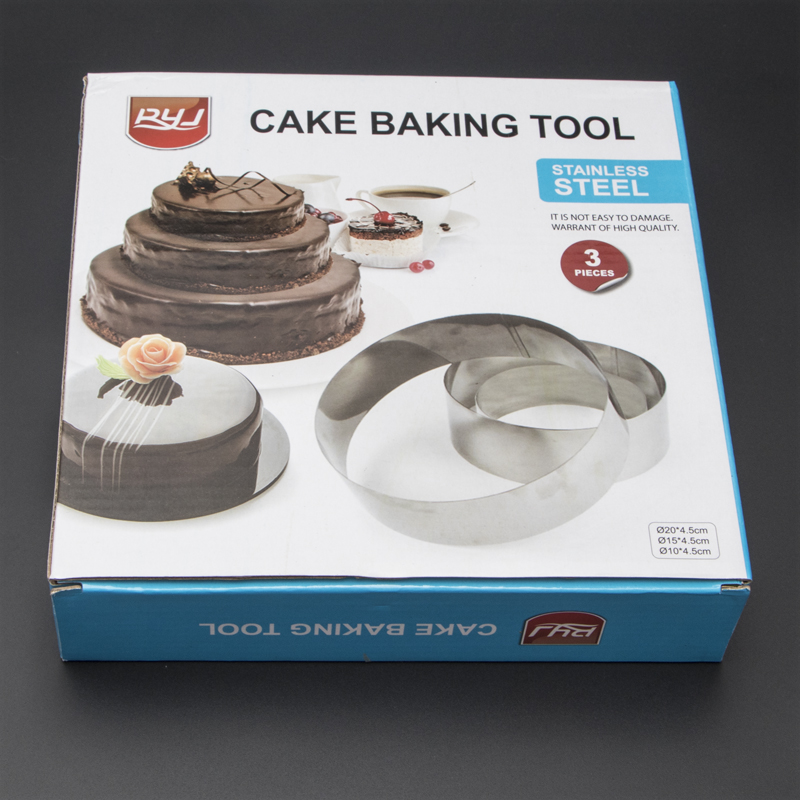 Hot Sale Round Stainless Steel Circle Mousse Ring Baking cakeTool 3Pcs/Set 3 Layer Cake Mould Bakeware Mold A113