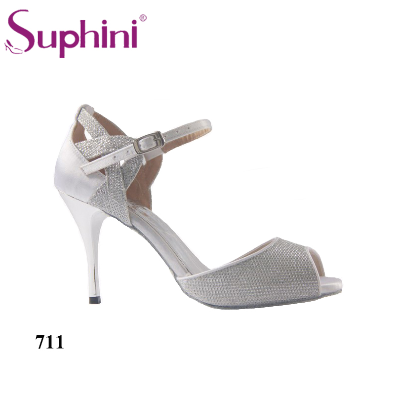 цены Free Shipping Suphini Silver Tango Dance Shoes Social Style Shoes Banquet Party Prom Dance Shoes