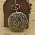 Гарри Поттер хогвартс Школа Знак Карманные Часы Кварцевые H брелок Часы Мужчины с Цепи Ожерелье женщина бронза старинные ретро новый