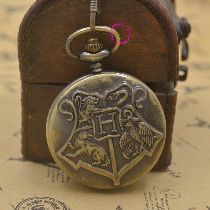 Hogwarts School Badge Harry Potter Pocket Watch Quartz H fob Watches Men with Necklace Chain woman bronze vintage retro new