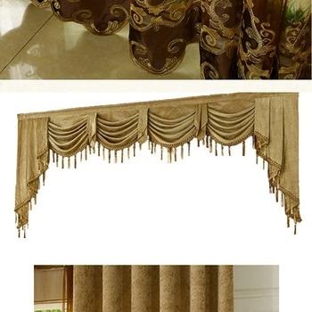 bIgmUm 1PCS European Luxury Valances For Living Room Kitchen Waterfall Modern Curtains Swag Valances Window Treatments Cenefas