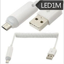 цена на LED light USB micro usb telescopic data cable HTC Nokia millet mobile phone spring charging cable
