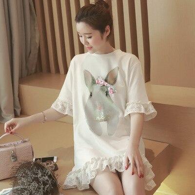 Новая мода беременных женщин лук печати кружевном платье одежда для беременных белый цвет материнства летнее платье