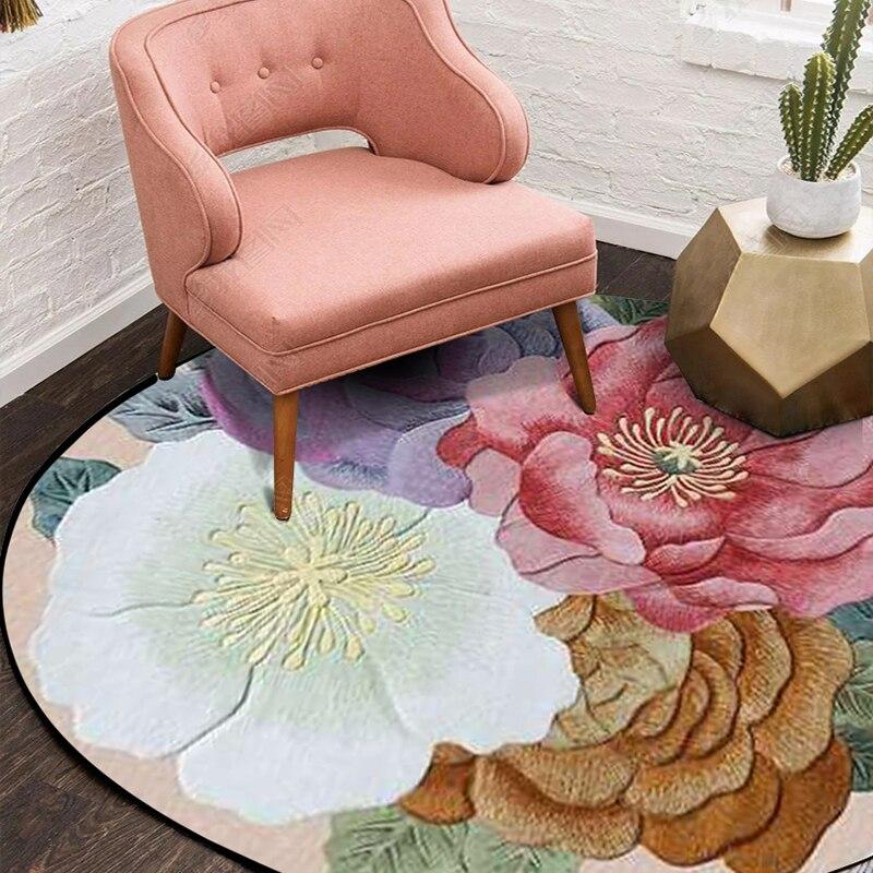 Nordic 3D flower round large carpet kids room living room table bedroom bedside computer Chair rug kitchen bathroom mat home