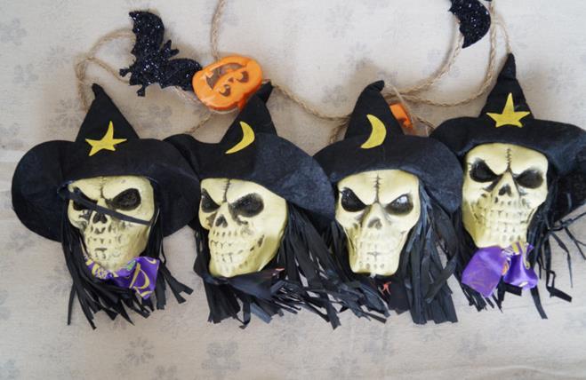 halloween party skull garland ghost bat witch pumpkin string banner flag bar decoration store atmosphere skull - Discount Halloween Decor